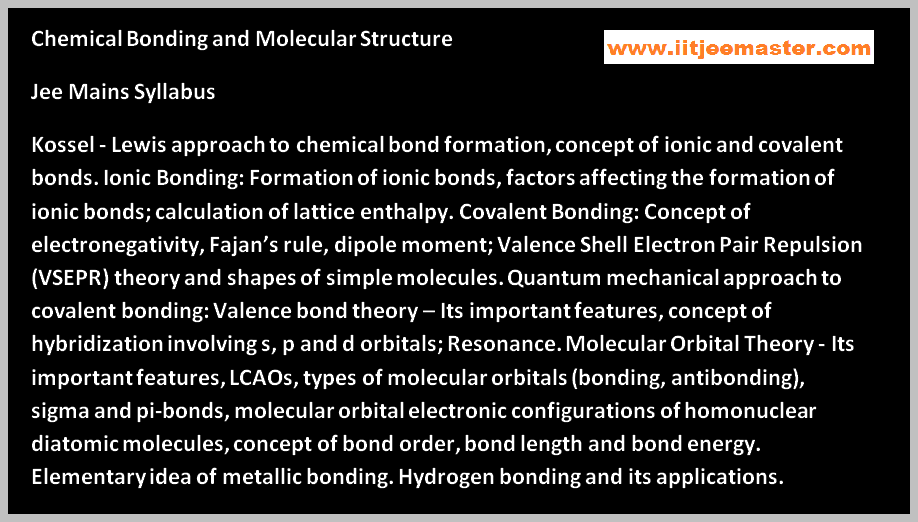 chemical bonding video for iit jee syllabus
