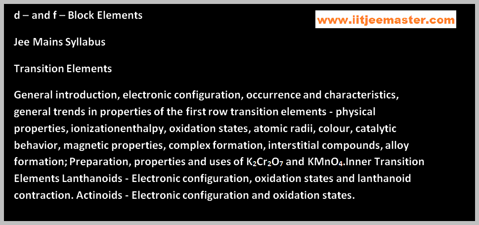 iit jee chemistry lectures on transition elements
