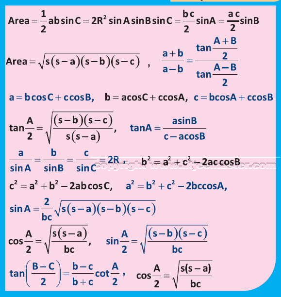 iit jee properties of triangle